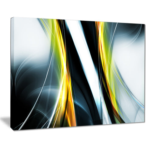 fractal lines yellow white abstract digital art canvas print PT7918