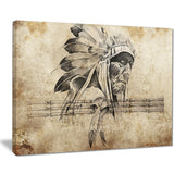 american indian warrior tattoo sketch digital art canvas print PT7951