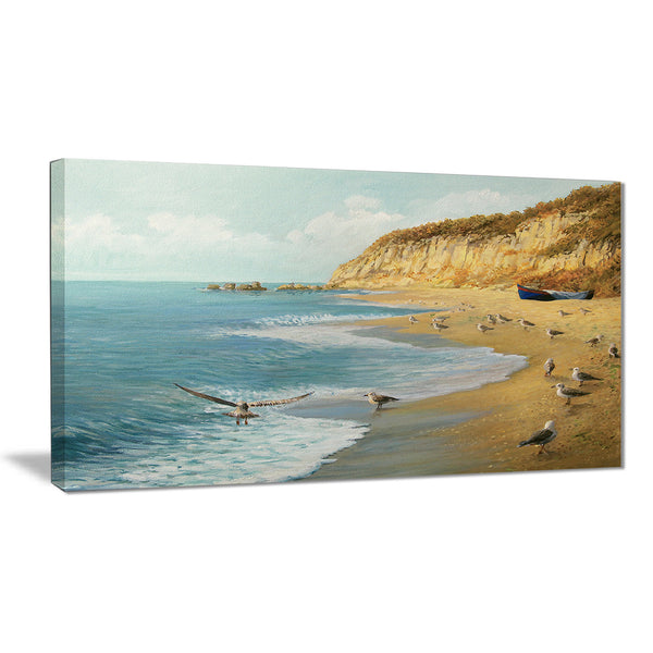 the calm beach landscape painting canvas print PT7959