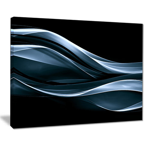 fractal lines blue in black abstract digital art canvas print PT8009