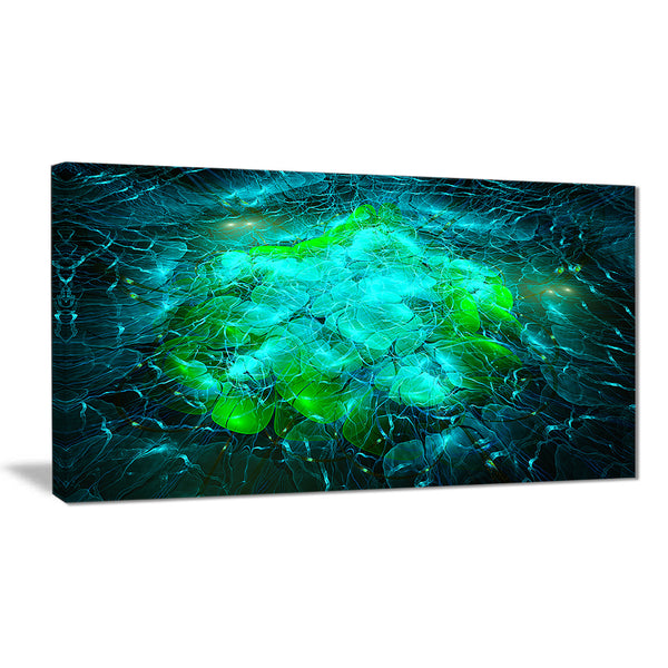 fractal smoke texture green abstract digital art canvas print PT8064