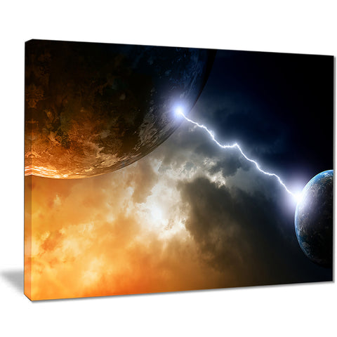 two planets in space modern spacescape canvas print PT8074
