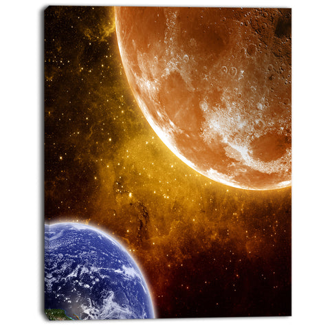 earth and moon modern space digital canvas print PT8079