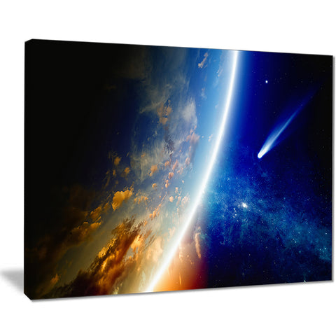 comet approaching earth modern spacescape canvas print PT8082