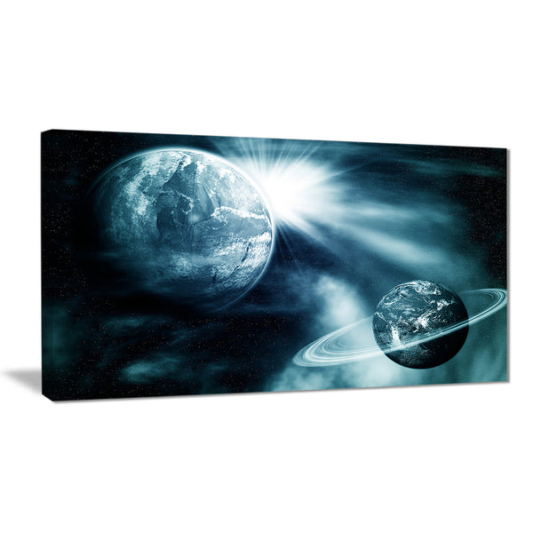 space view with two planets modern spacescape canvas print PT8083