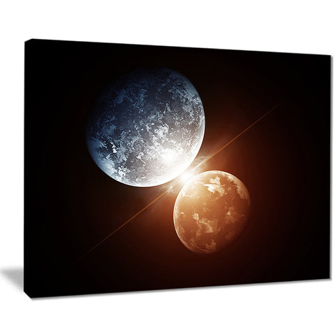 kiss between two planets modern spacescape canvas print PT8084