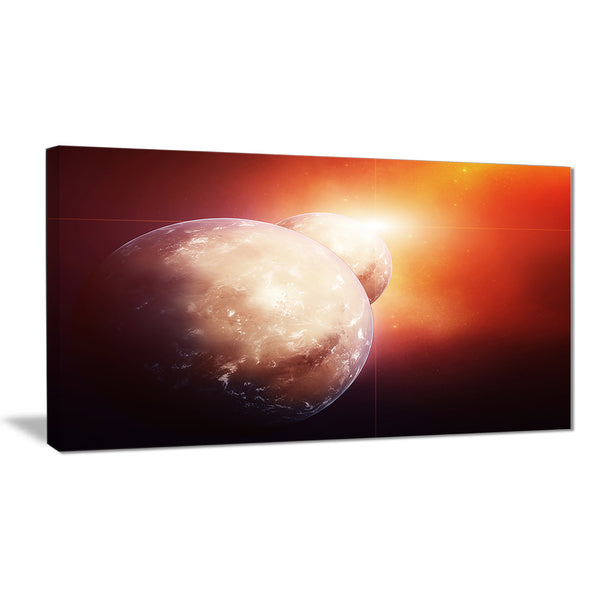 planets with rising star modern spacescape canvas print PT8086