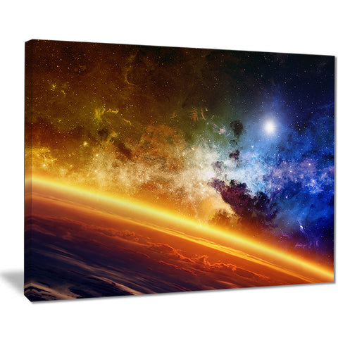 glowing planet abstract digital spacescape canvas print PT8102