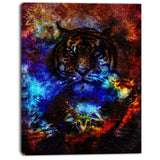 colorful tiger collage animal digital art canvas print PT8200