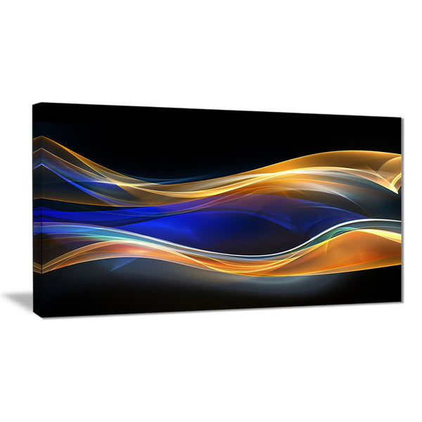 3d gold blue wave design abstract digital art canvas print PT8219