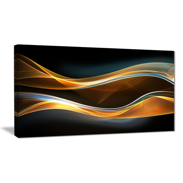 3d gold waves in black abstract digital art canvas print PT8220