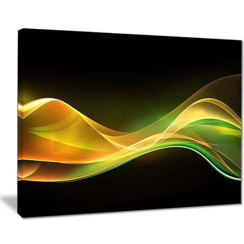 3d gold green wave design abstract digital art canvas print PT8223