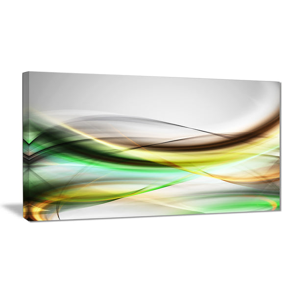 abstract green yellow waves abstract digital art canvas print PT8228