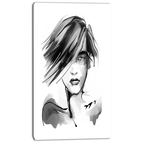 young woman black white portrait digital art canvas print PT8244