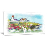 buildings in green meadow landscape painting canvas print PT8246