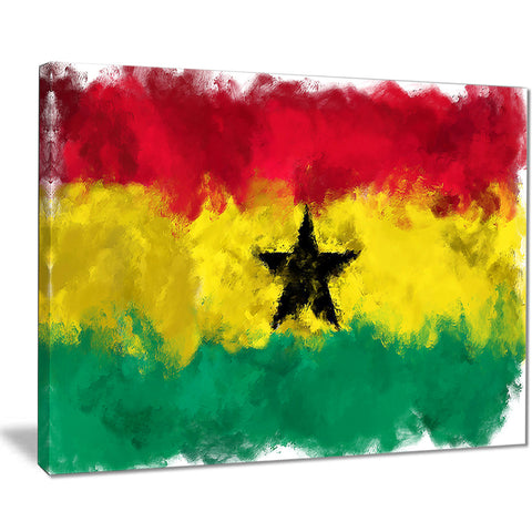 ghana flag illustration flag painting canvas print PT8259