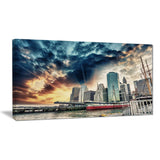 sunset colors of manhattan cityscape photo canvas print PT8288