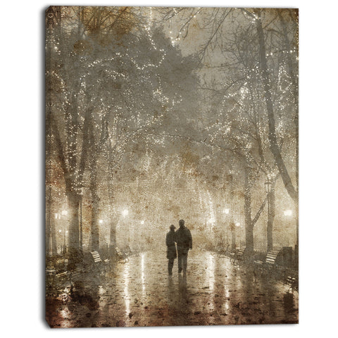 couple walking in night lights landscape photo canvas print PT8289