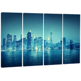 blue new york at night cityscape digital art canvas print PT8295