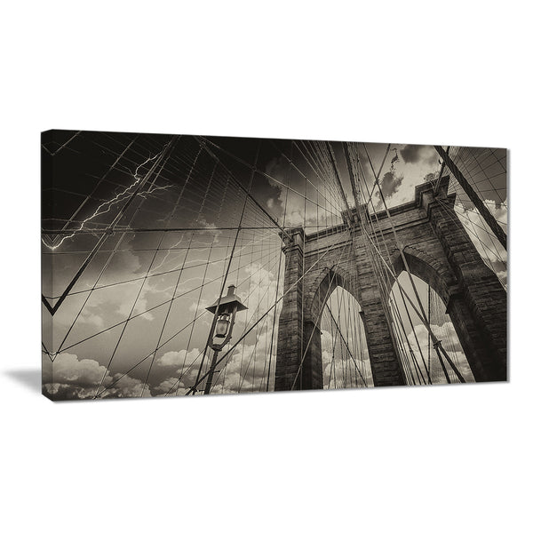 upward view of brooklyn bridge cityscape photo canvas print PT8298