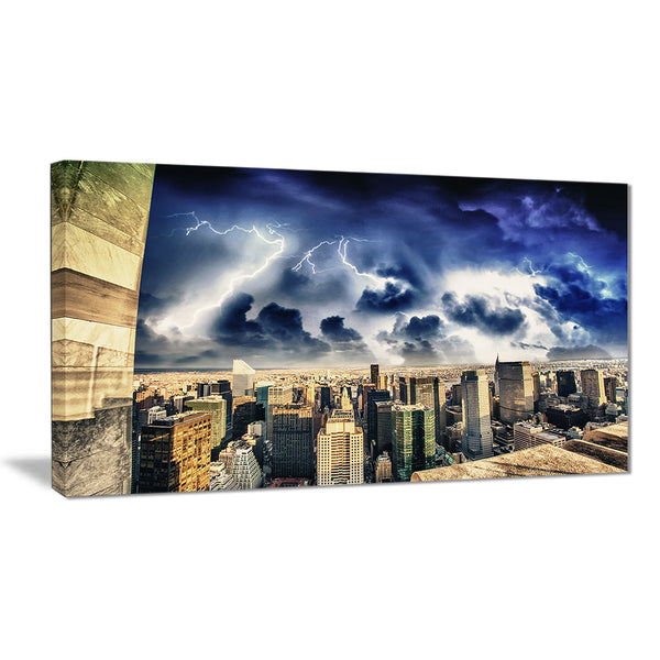 storm above manhattan skyscrapers cityscape photo canvas print PT8307