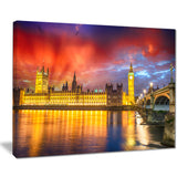 sunset view of london skyline cityscape photo canvas print PT8308