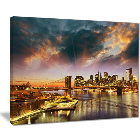 manhattan at winter sunset cityscape photo canvas print PT8309