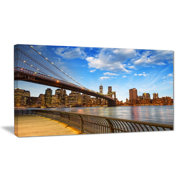 calm sky over brooklyn bridge cityscape photo canvas print PT8310