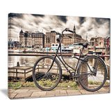 bike over bridge in amsterdam cityscape photo canvas print PT8312