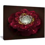 red fractal flower with white floral digital art canvas print PT8322