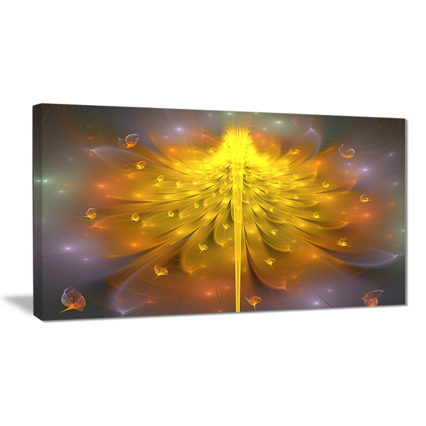 yellow fractal flower with pink floral digital art canvas print PT8327