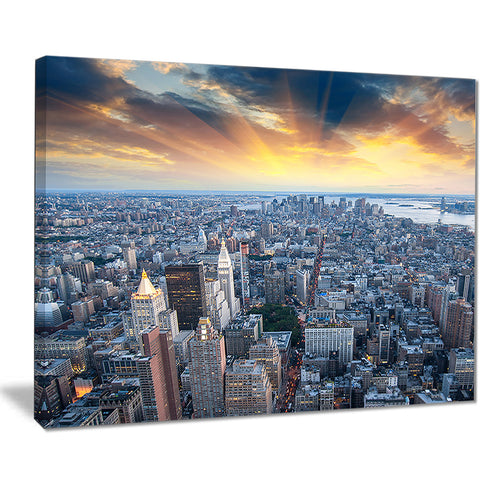 aerial view of nyc skyscrapers cityscape photo canvas print PT8336
