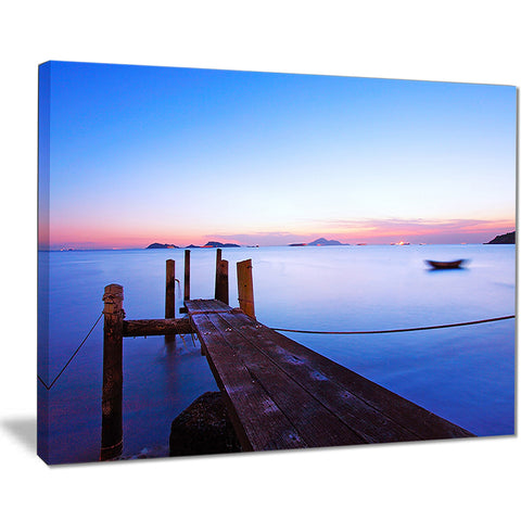 wooden pier at sunset seascape photo canvas art print PT8349