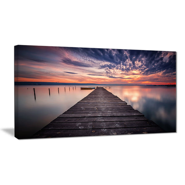 colorful sunset over lake landscape photo canvas print PT8351