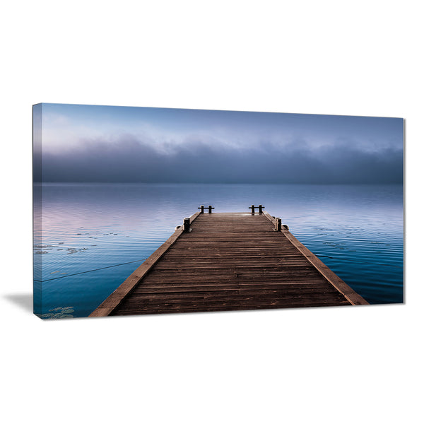 wooden pier under foggy sky seascape photo canvas print PT8352