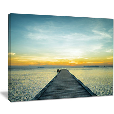 boat pier at sunset seascape photo canvas art print PT8353