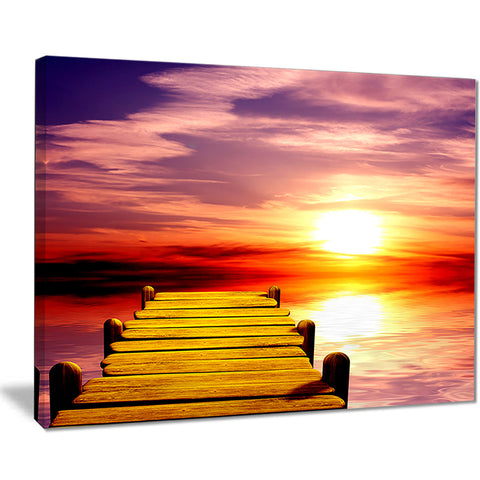 burning sunset in blue sky seascape photo canvas print PT8354