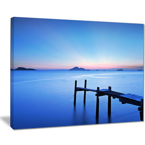 wooden pier in blue sea seascape photo canvas print PT8355