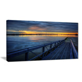 azure waters behind pier seascape photo canvas print PT8358