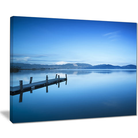 bright blue sky with pier seascape photo canvas print PT8362
