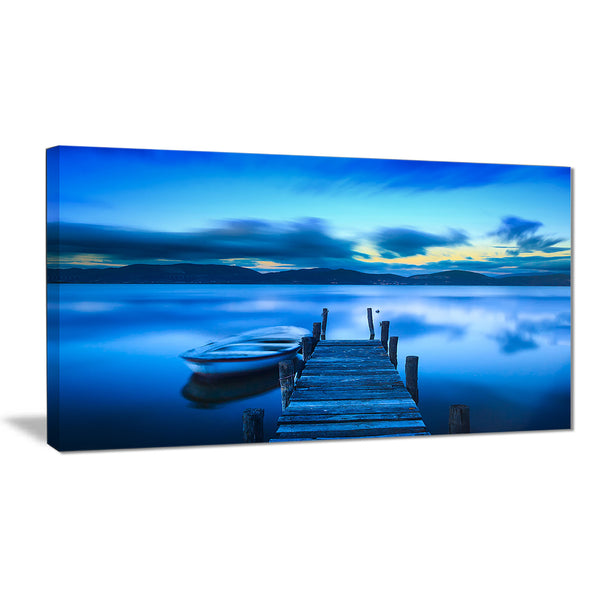 cloudy blue sky with pier seascape photo canvas print PT8363