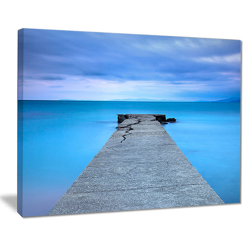 broken concrete jetty seascape photo canvas print PT8364