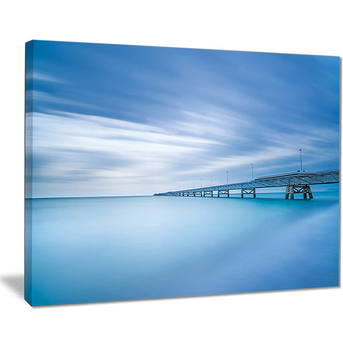 industrial pier in the sea seascape photo canvas print PT8372
