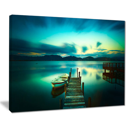 wooden jetty and boat in sea seascape photo canvas print PT8373