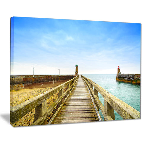 pier and lighthouse france seascape photo canvas print PT8374
