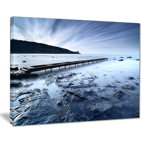 wooden pier deep into sea seascape photo canvas print PT8378