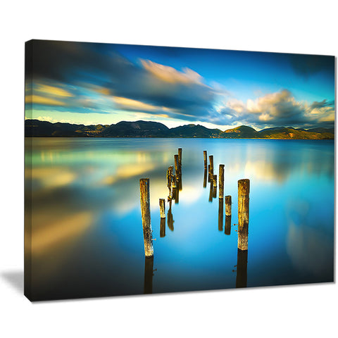 cloudy lake with broken pier seascape photo canvas print PT8379
