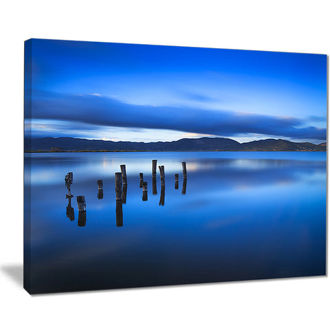 blue clouds at evening seascape photo canvas print PT8384