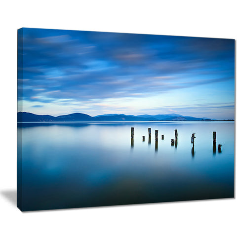 cloudy sky in blue sea seascape photo canvas print PT8385