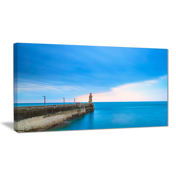 pier and lightour in sunset seascape photo canvas print PT8386